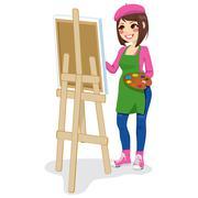 Painter Artist Woman Stock Illustration