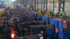 Ironworks plant. Working Machines. Borning Hot Beams. Wide Stock Footage
