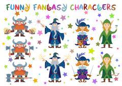 Fantasy heroes, set Stock Illustration