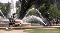 Jc nichols memorial fountain kc 4k  Stock Footage