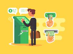 Man takes cash from ATM Stock Illustration