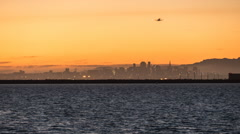 Oakland Airport Day to Night Time Lapse on San Francisco Bay with Zoom In hd Stock Footage