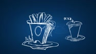 Fast Food - Hand Drawn - Zoom in - Animation - Blue background Stock Footage