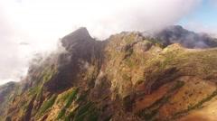 Clouds over Pico do Arieiro, Madeira aerial view Stock Footage