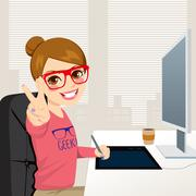 Hipster Graphic Designer Woman Working Stock Illustration