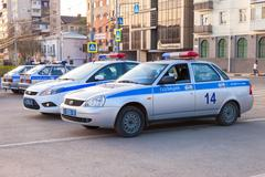 Russian police patrol cars of the State Automobile Inspectorate Stock Photos