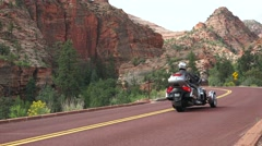 Trike Motorcycle free to go,, Zion National Park Stock Footage