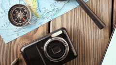 Overhead view of Traveler's accessories, Essential vacation items, Travel Stock Footage