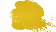 Yellow drops falling on white screen. syrup Stock Footage