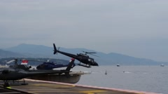 Helicopter Taking Off From Monaco Heliport Arkistovideo