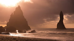 Reynisdrangar sea stacks Reynisfjara beach Vik Iceland artistic time lapse 4k  Stock Footage
