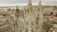 Basílica del Voto Nacional - aerial of catholic church Quito Stock Footage