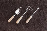 Three gardening tools placed at an angle Stock Photos