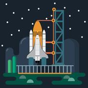 Rocket before Launch Vector illustration Piirros