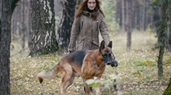 Young woman and her pet - german shepherd - walking on a autumn forest Stock Footage