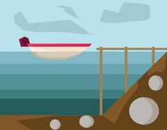 Powerboat in Harbor vector illustration Stock Illustration