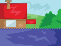 House with Red Roof Countryside View Stock Illustration