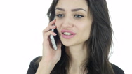 Phone Call, Business Woman Talking On Smartphone, White Background Stock Footage