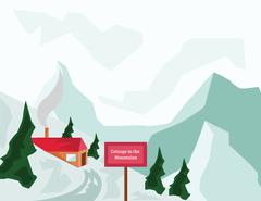 Winter Mountains and Tourist Cottage Stock Illustration
