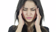 Headache, Frustrated Depressed  Brunette Woman Stock Footage