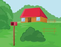 House and Mailbox in the Woods Stock Illustration