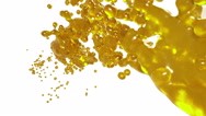 Abstract yellow flow of fluid on white background.. syrup Stock Footage