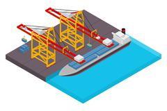 Aerial view of harbor waterfront and maritime terminal with container ship Stock Illustration