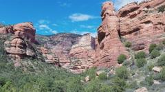 Fay Canyon From Above Tree Tops- Sedona Arizona Stock Footage