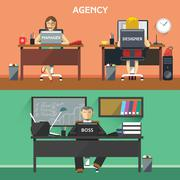 Design Agency Workers in Office Stock Illustration