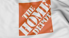 Close up of waving flag with The Home Depot logo, 3D rendering Stock Illustration