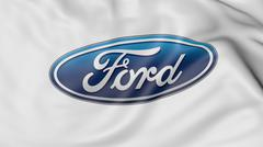 Close up of waving flag with Ford Motor Company logo, 3D rendering Stock Illustration
