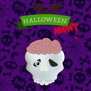 Skull with brains on happy Halloween card Stock Illustration