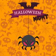 Big scary spider on happy Halloween card Stock Illustration