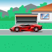 Luxury sport car parked beside house's garage Piirros