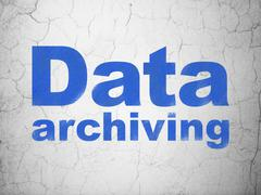 Information concept: Data Archiving on wall background Stock Illustration