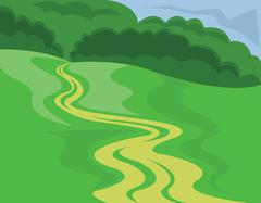 Landscape Country Road Illustration Piirros