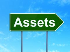 Banking concept: Assets on road sign background Stock Illustration