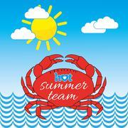 Hot Summer Seaside Crab Illustration Stock Illustration