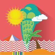 Green Ice Cream Seaside Illustration Stock Illustration
