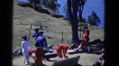 1965: various men in costumes putting on a show reflecting a specific time Stock Footage