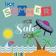Hot summer sale ufo over sea and beach Stock Illustration