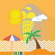 Yellow Ice Cream Seaside Illustration Stock Illustration
