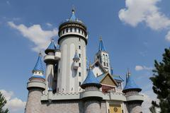 Fairy tale castle in Sazova Science, Art and Cultural Park in Eskisehir City Stock Photos