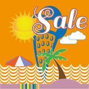Blue Ice Cream Seaside Sale Illustration Stock Illustration