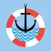 Lifebuoy and Anchor Flat Style Icons Stock Illustration