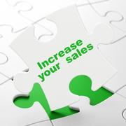 Business concept: Increase Your  Sales on puzzle background Stock Illustration