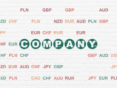 Finance concept: Company on wall background Piirros