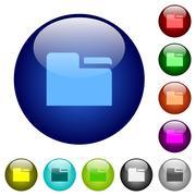 Color tab folder glass buttons Stock Illustration
