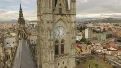 Downtown Quito Ecuador with Cathedral in foreground Stock Footage