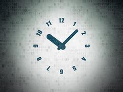 Timeline concept: Clock on Digital Data Paper background Stock Illustration
